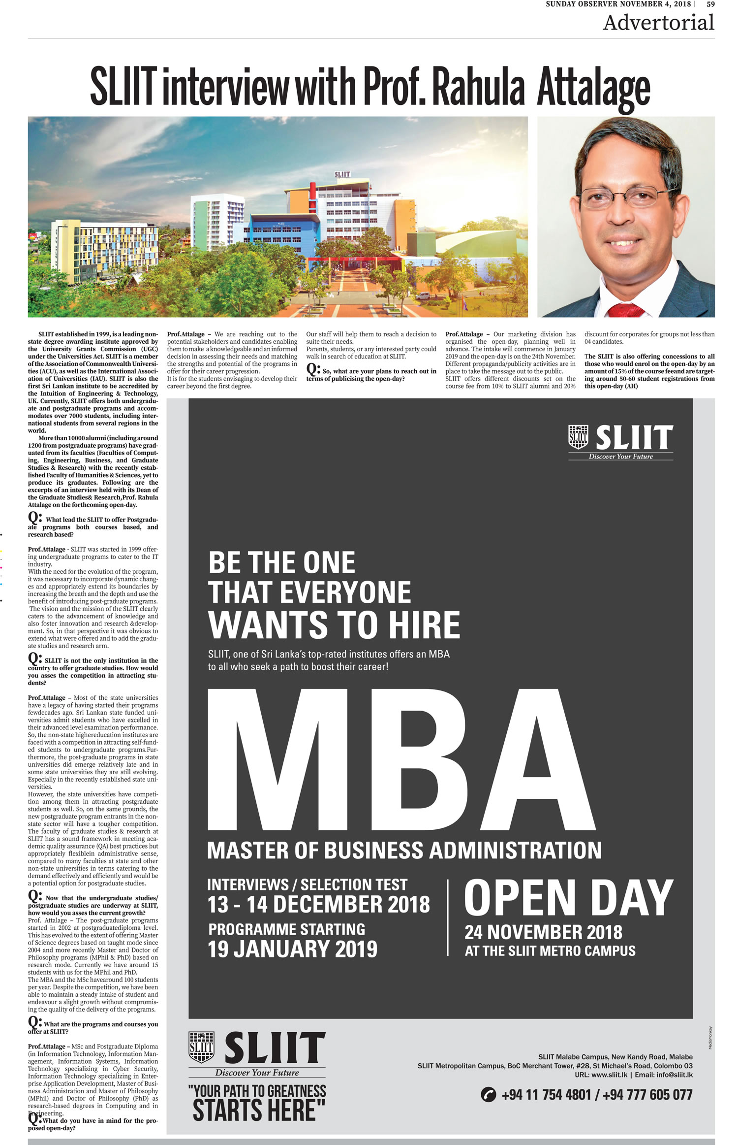 SLIIT-Interview-with-Prof.-Rahula-Attalage-Sunday-Observer-04.11.2018