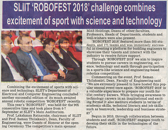 SLIIT-Robofest-2018-Challenge-Combines-Excitement-of-Sport-with-Science-and-Technology-The-Island-19-10-2018