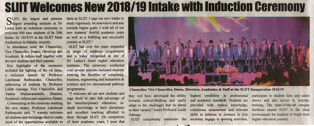 SLIIT-Welcomes-New-2018-19-Intake-with-Induction-Ceremony-Ceylon-Independant-25-11-2018
