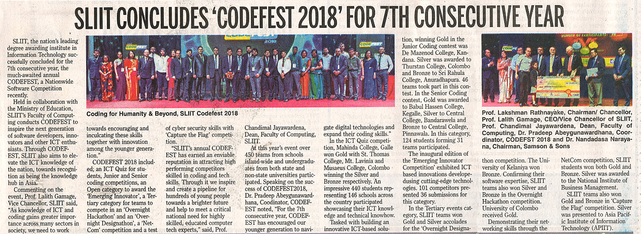 SLIIT-Concludes-CODEFEST-2018-for-7th-Consecutive-Year-Daily-News-05-11-2018