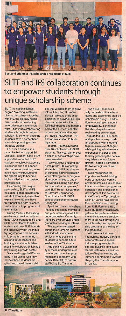 SLIIT-and-IFS-Collaboration-continues-to-Empower-Students-through-Unique-Scholarship-Scheme-Daily-FT-10-12-2018