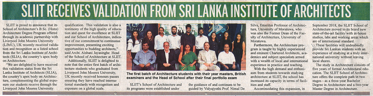 SLIIT-Receives-Validation-from-Sri-Lanka-Institute-of-Architects-Daily-News-02-01-2019