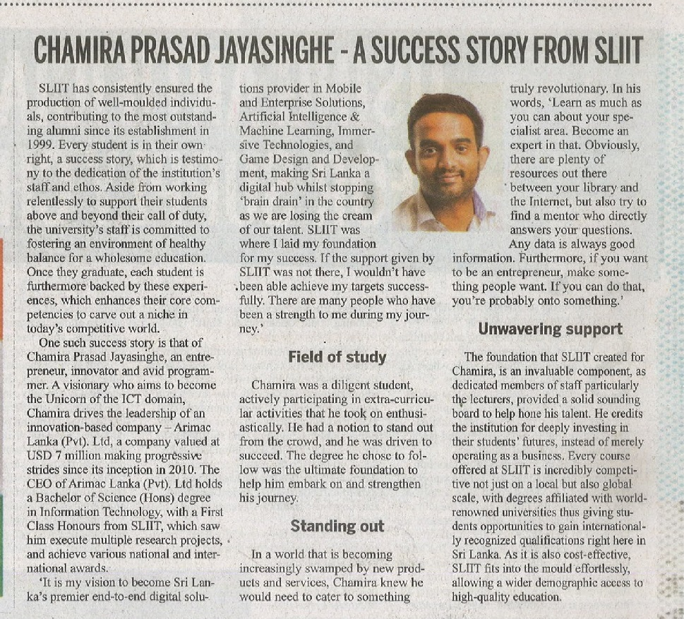 Chamira-Prasad-Jayasinghe-A-Success-Story-from-SLIIT-Daily-News-17.01.2019