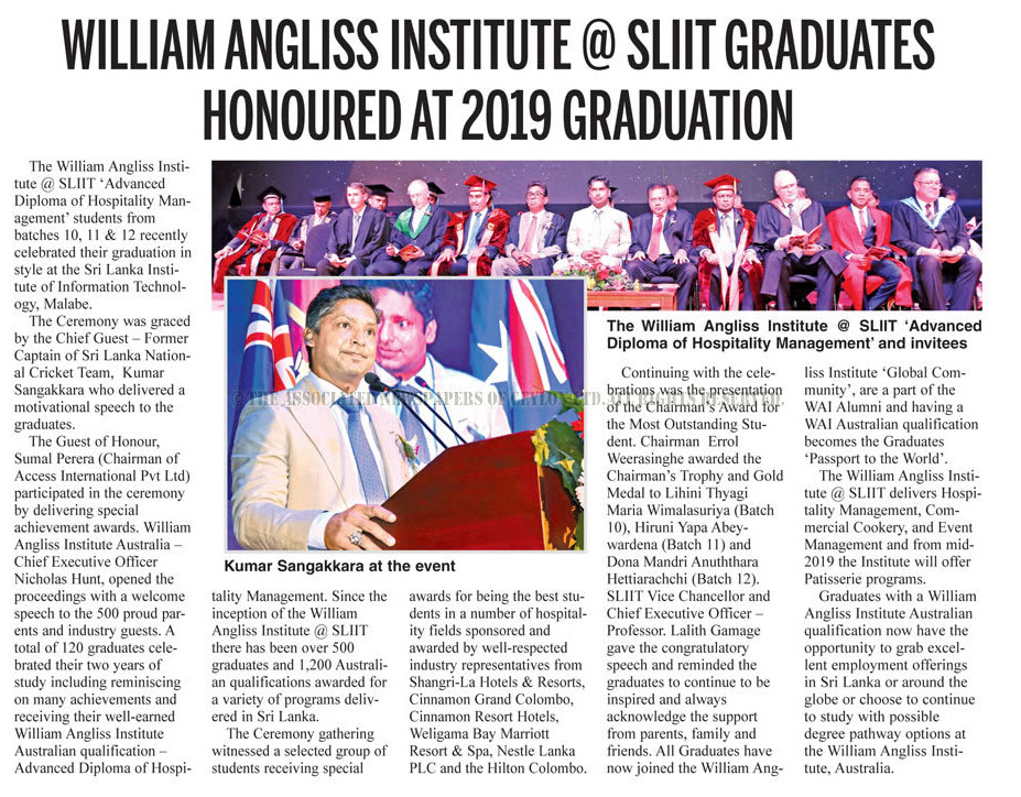 William-Angliss-Institute-@-SLIIT-Graduates-Honoured-at-2019-Graduation-Daily-News