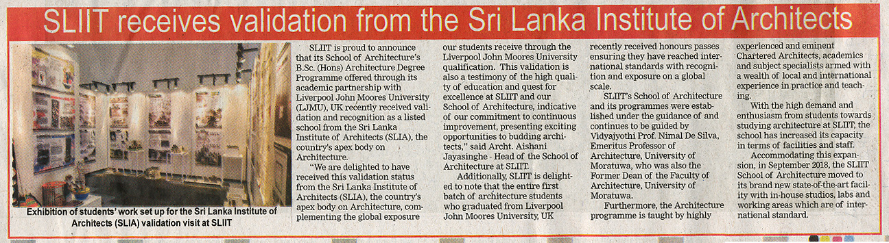 SLIIT-Receives-Validation-from-Sri-Lanka-Institute-of-Architects-The-Island-01-01-2019