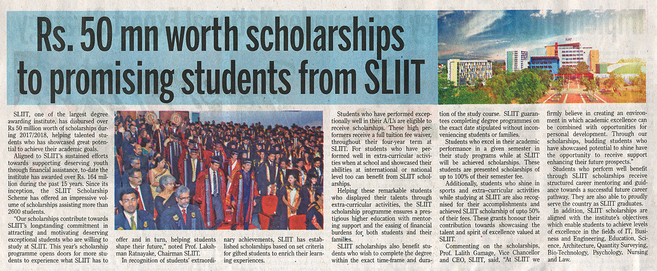 SLIIT-Provides-over-Rs.-50-mn-Worth-Scholarships-to-Promosing-Students-Daily-News-01-07-2019