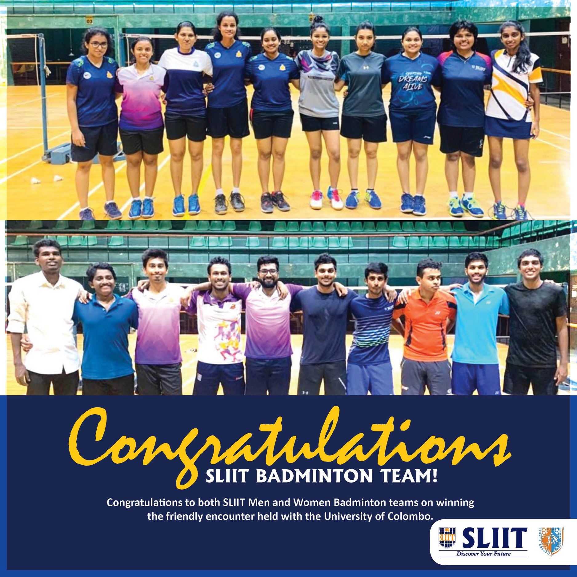 SLIIT Men and Women Badminton teams on winning the friendly encounter