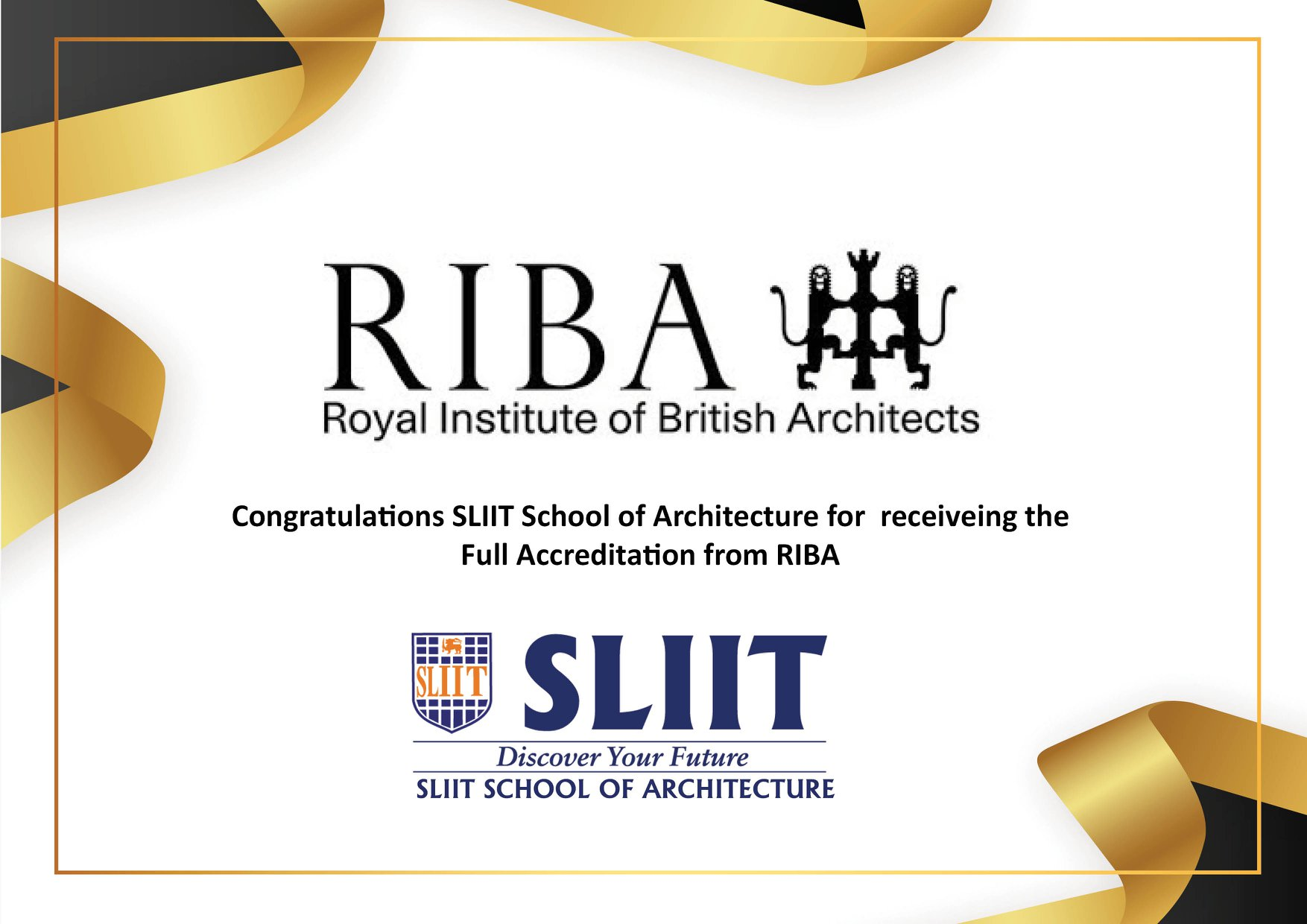 SLIIT School of Architecture received RIBA Validation from the Royal Institute of British Architects (RIBA)